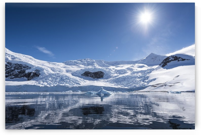 Bright sun and snow on the mountains reflected in the water of Neko Harbour; Antarctica by PacificStock