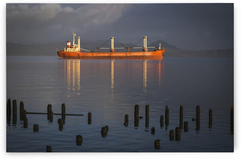 A ship anchors off the coast of Astoria; Astoria, Oregon, United States of America by PacificStock