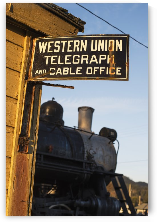 Historic sign and train; Garibaldi, Oregon, United States of America by PacificStock