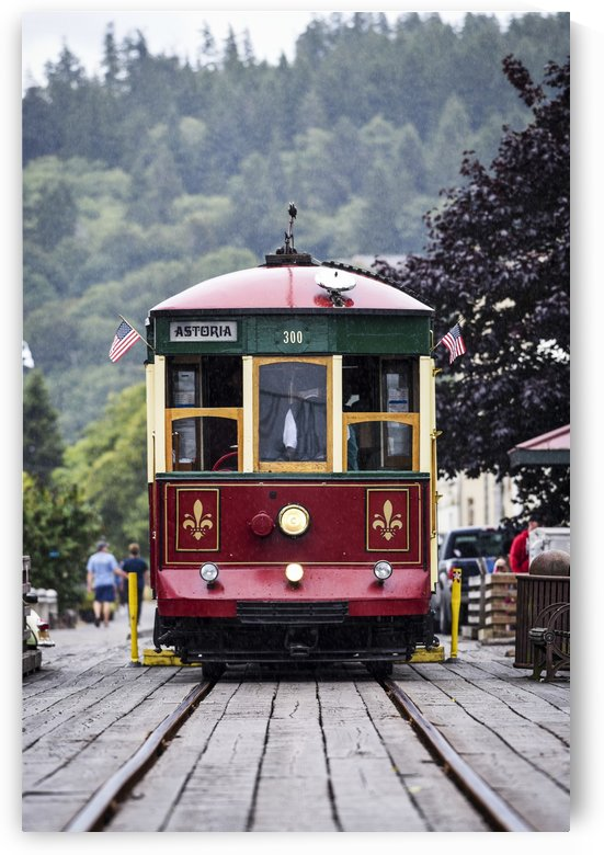 The Astoria Trolley running along the riverfront; Astoria, Oregon, United States of America by PacificStock