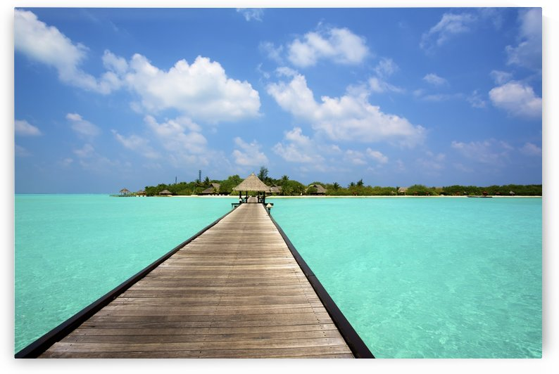 Jetty with cabana over crystal clear turquoise sea, Maldives by PacificStock