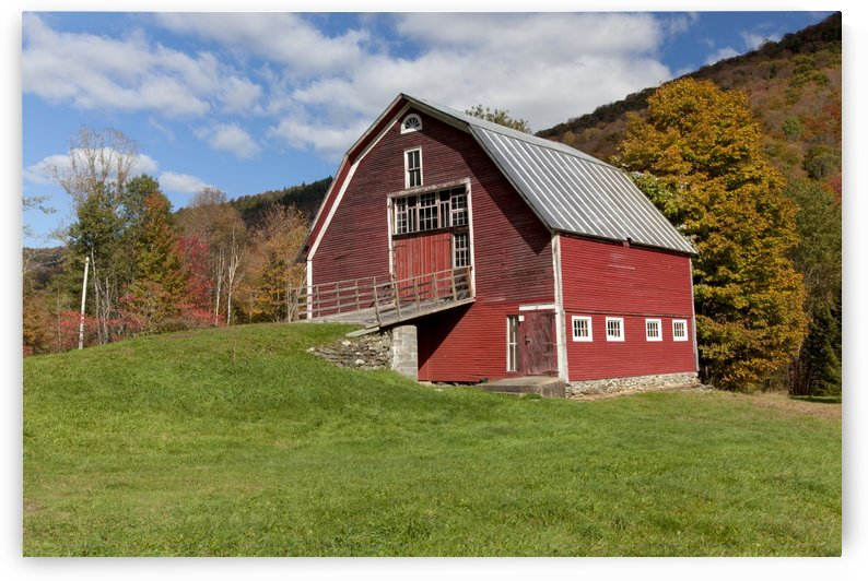 Red barn with blue sky along route 100 in autumn; Hancock, Vermont, United States of America by PacificStock