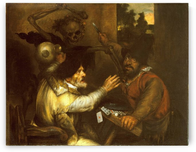 Fighting Card-players and Death by Jan Lievens