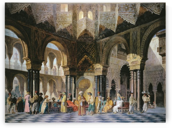 Interior of an oriental mosque by Adrien Dauzats