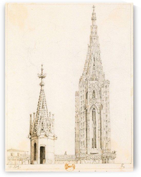 Tour et fleche de la cathedrale de Strasbourg by Adrien Dauzats