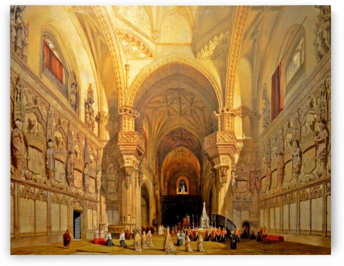 Interieur de la cathedrale Saint-Jean-des-Rois de Tolede by Adrien Dauzats