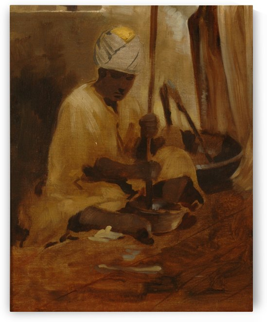 A young man cooking by Leopold Alphons Mielich