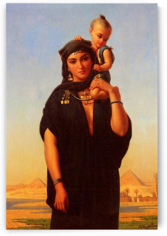 Femme Fellah Portant Son Enfant by Emile Lecomte-Vernet