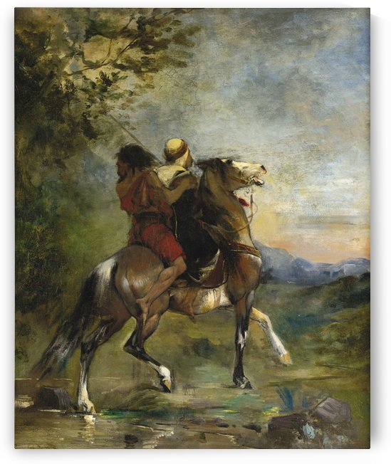 Two riders on a horse by Eugene Fromentin
