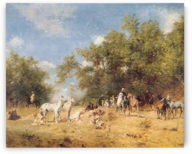 Arab horsemen resting by Eugene Fromentin