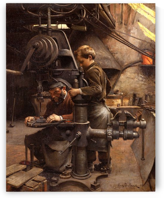 Father and son working by Jean-Eugene Buland