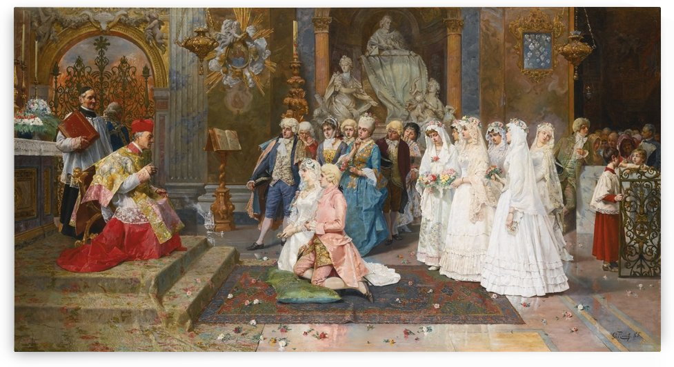 The wedding scene by Giulio Rosati