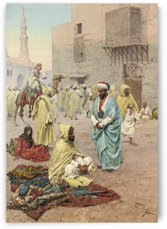 Pilgrims outside a mosque by Giulio Rosati