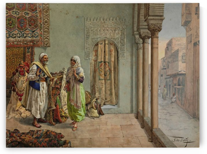 An Oriental Bazaar by Giulio Rosati