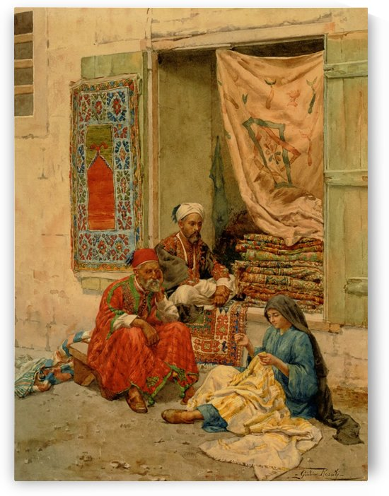 Carpet seller by Giulio Rosati