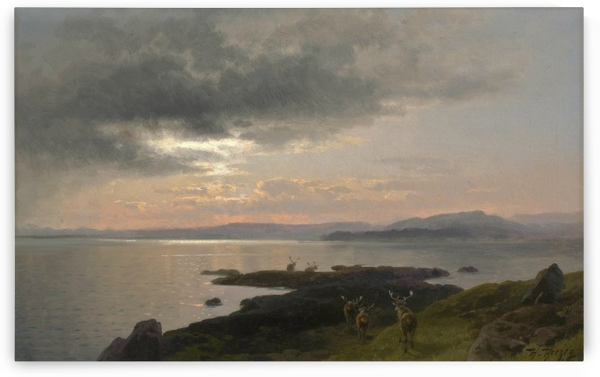 Twighlight over a lake by Hermann Ottomar Herzog