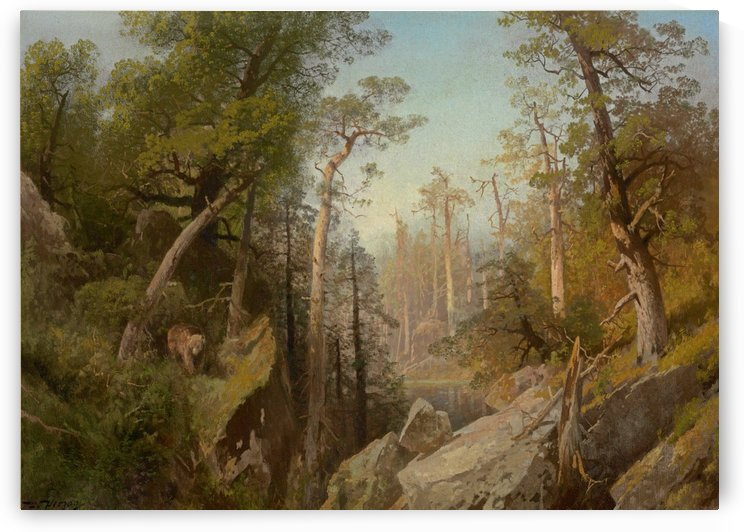 Landscape with trees and a bear near lake by Hermann Ottomar Herzog