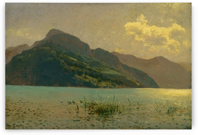 View of Lake Lucerne opposite Brunnen by Hermann Ottomar Herzog