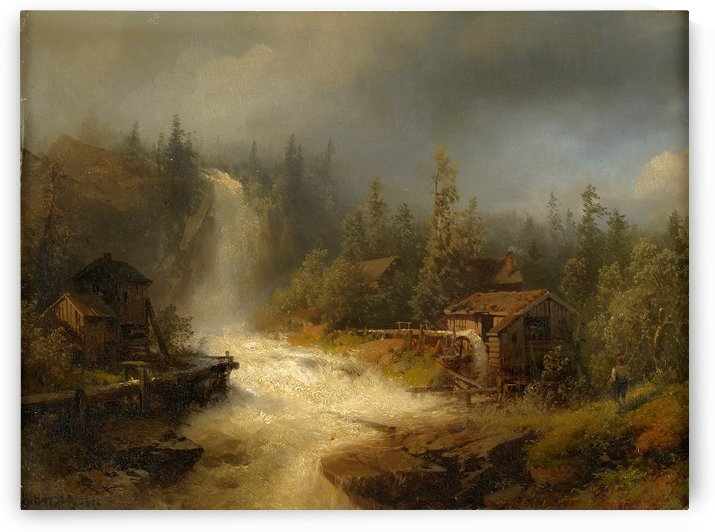 Watermill with figure and waterfall in the back by Hermann Ottomar Herzog
