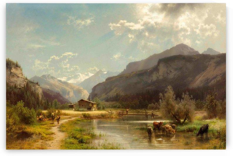Sunny landscape along a river by Hermann Ottomar Herzog