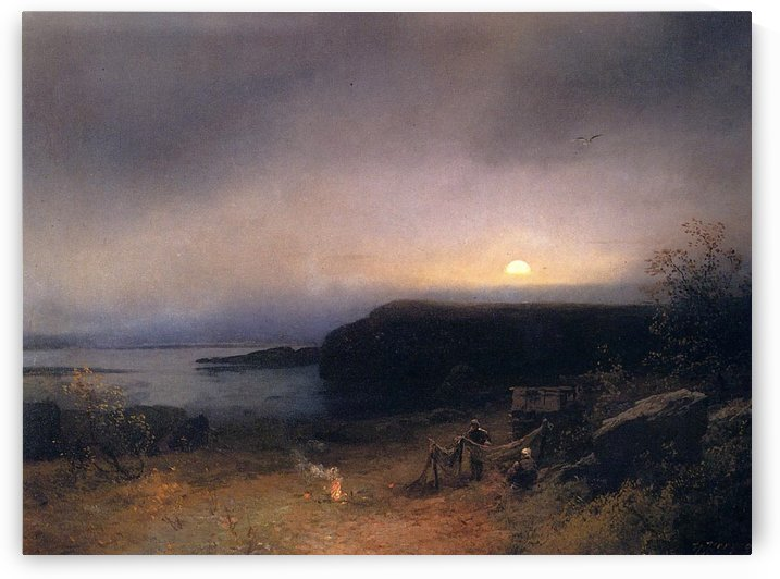 Campfire in Moonlight by Hermann Ottomar Herzog