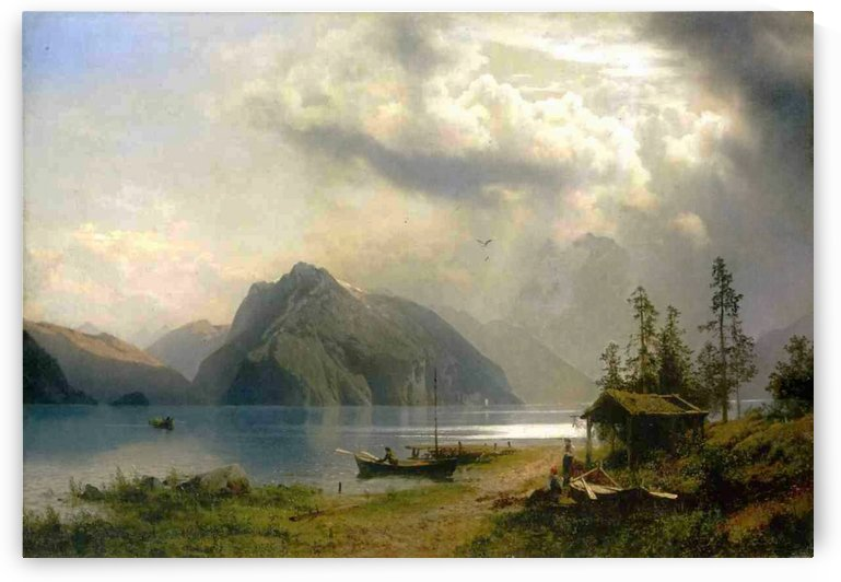 Landscape with lake and mountains by Hermann Ottomar Herzog