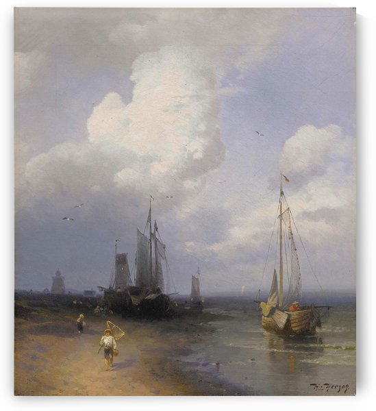Dutch coastal scene by Hermann Ottomar Herzog