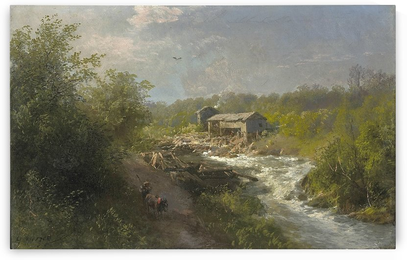 Mill by a mountain stream by Hermann Ottomar Herzog