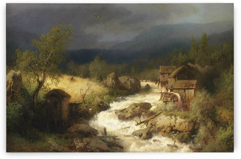 Mill on a torrent by Hermann Ottomar Herzog