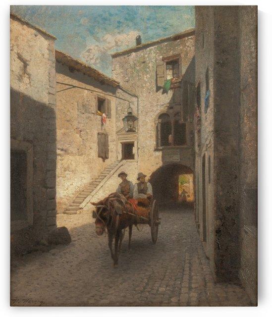 Street scene by Hermann Ottomar Herzog