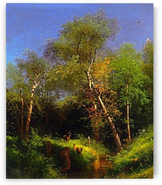 Deer in the wild woods by Hermann Ottomar Herzog