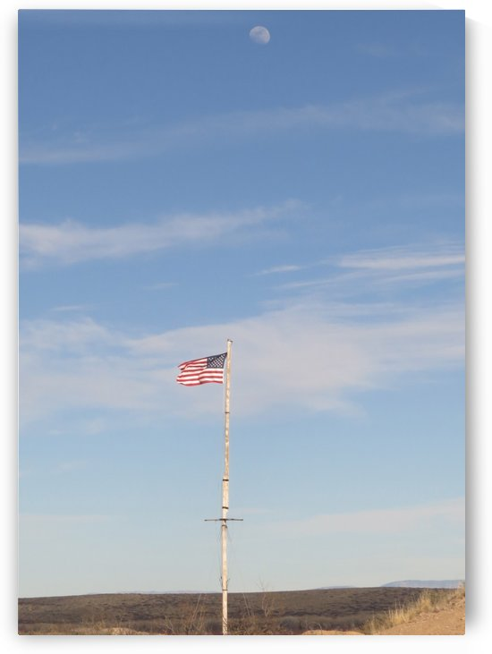 Moon and American Flag over Fort Craig VP1 by Vicki Polin