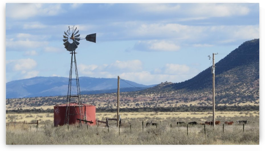 Windmill and Mountains VP1 by Vicki Polin