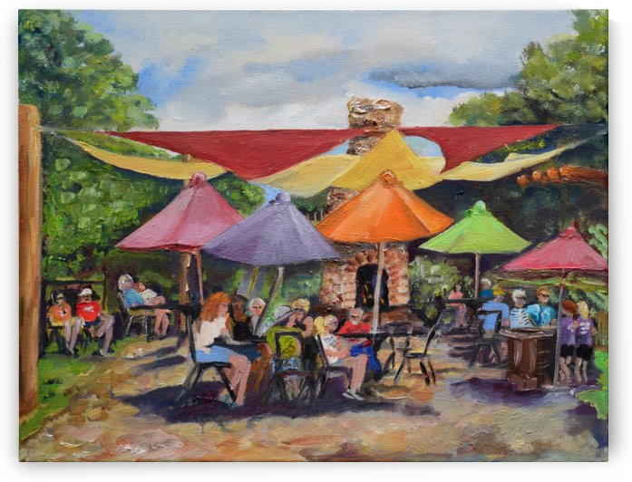 Under The Umbrellas At The Cartecay Vineyard - Crush Festival  by Jan Kornegay Dappen