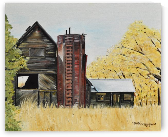 Golden Aged Barn -Washington - Red Silo  by Jan Kornegay Dappen
