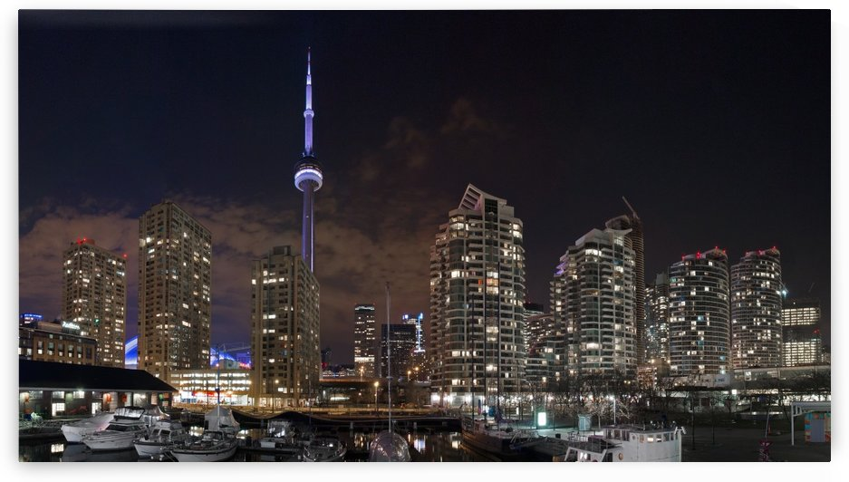 CN Tower from Harbourfront Center at Night, Toronto, Canada. by Pixelme ca