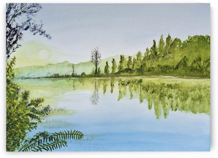 Calm Lake Reflection  by Linda Brody
