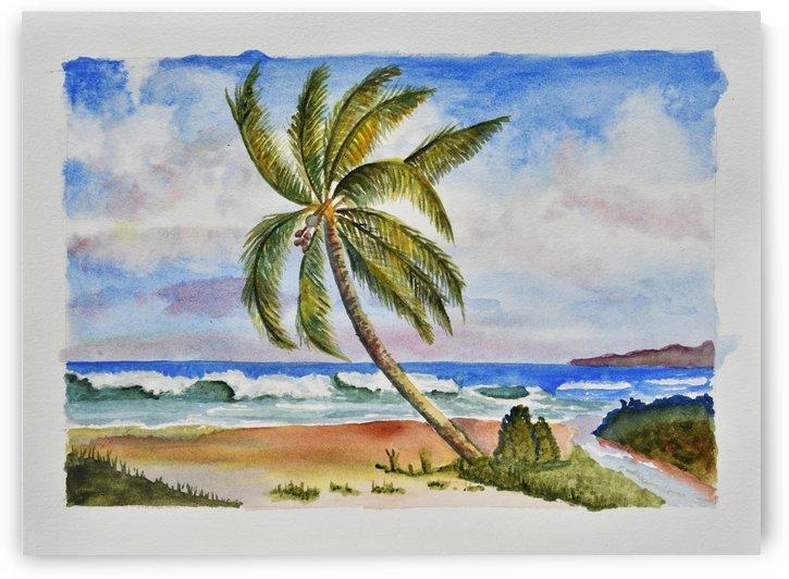 Palm Tree Ocean Scene by Linda Brody