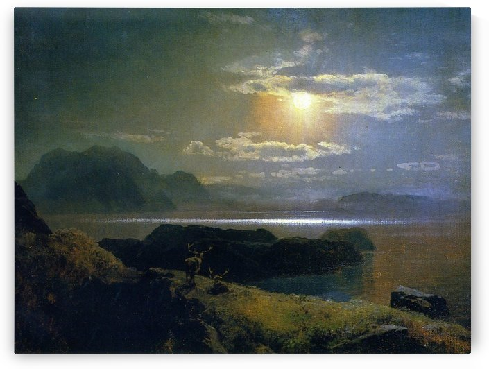 Elk in the Moonlight by Hermann Ottomar Herzog