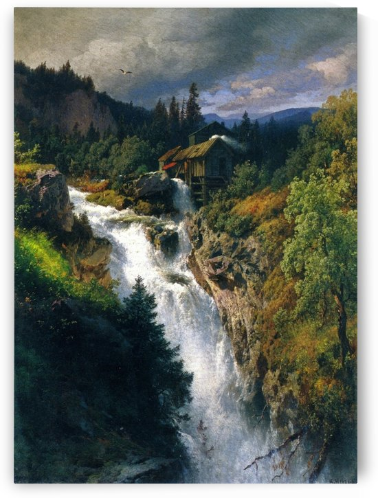 Mountain falls by the mill by Hermann Ottomar Herzog