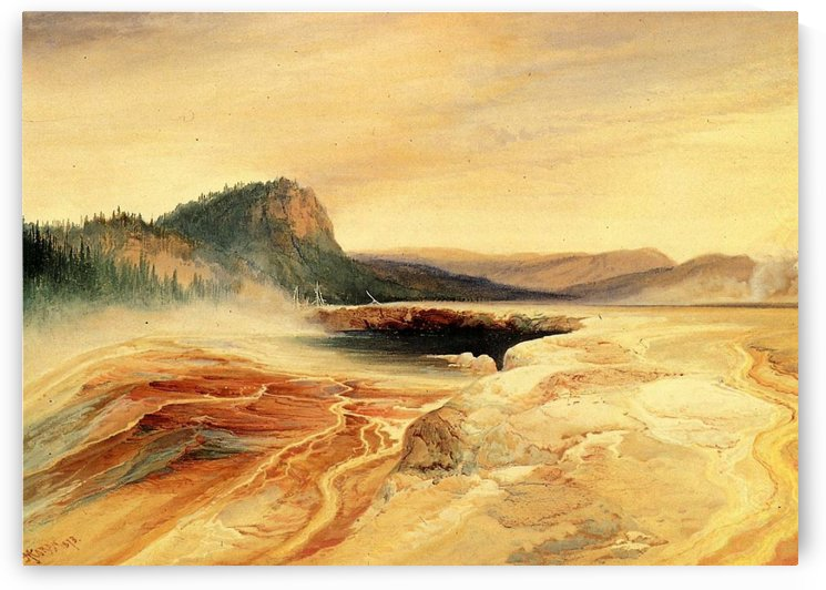 Giant Blue Spring, Yellowstone by Thomas Moran