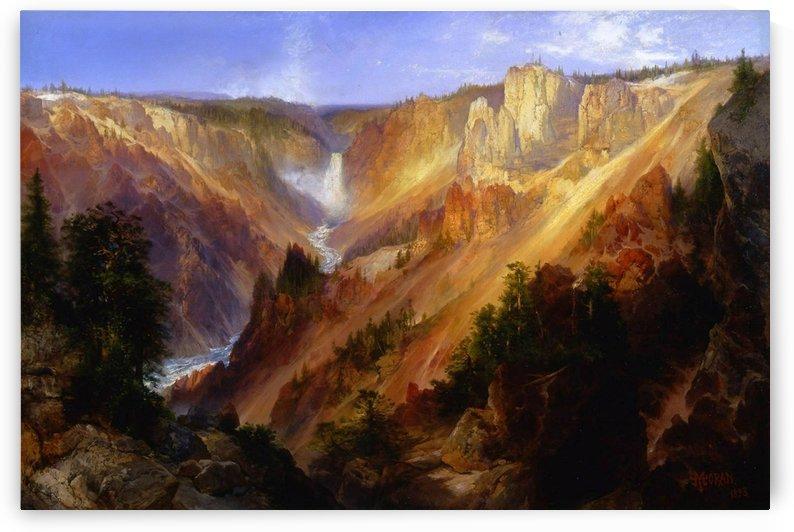Waterfall along the river by Thomas Moran