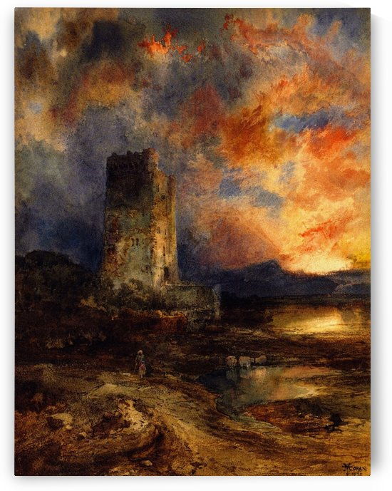 1880 Sunset on the Moor by Thomas Moran