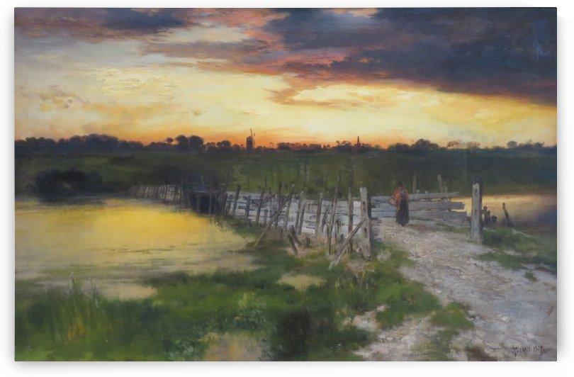 The Old Bridge over Hook Pond, East Hampton, Long Island by Thomas Moran