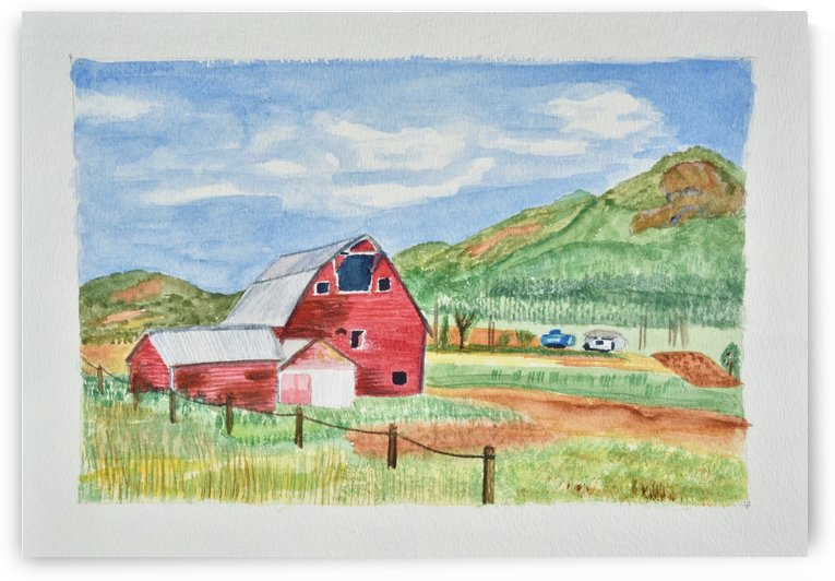 Red Barn Landscape by Linda Brody