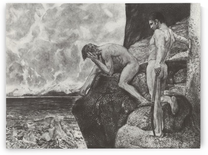 Two man at the edge of a cliff by Max Klinger