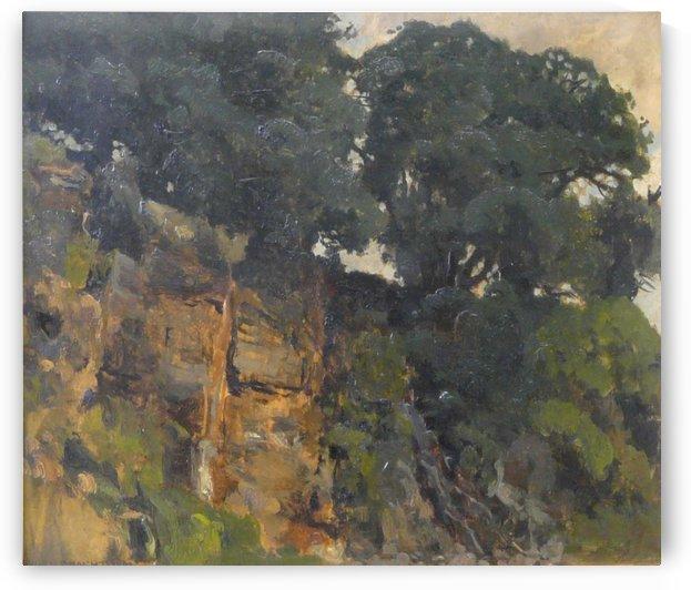 Eichen auf Felsenkamm by Eugen Bracht