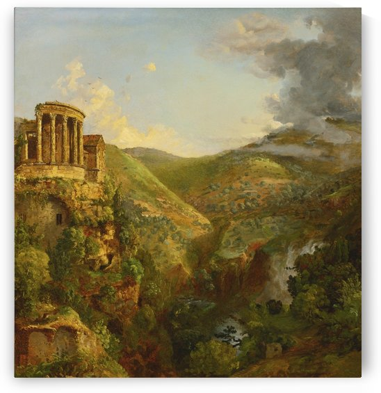 A temple on the high of a clif by Jasper Francis Cropsey