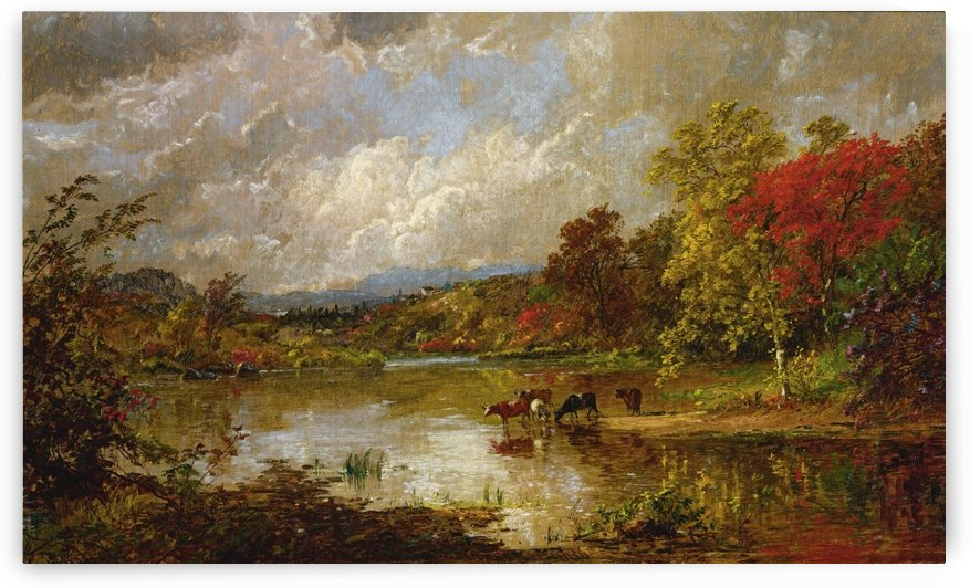 Landscape with cows on a lake by Jasper Francis Cropsey