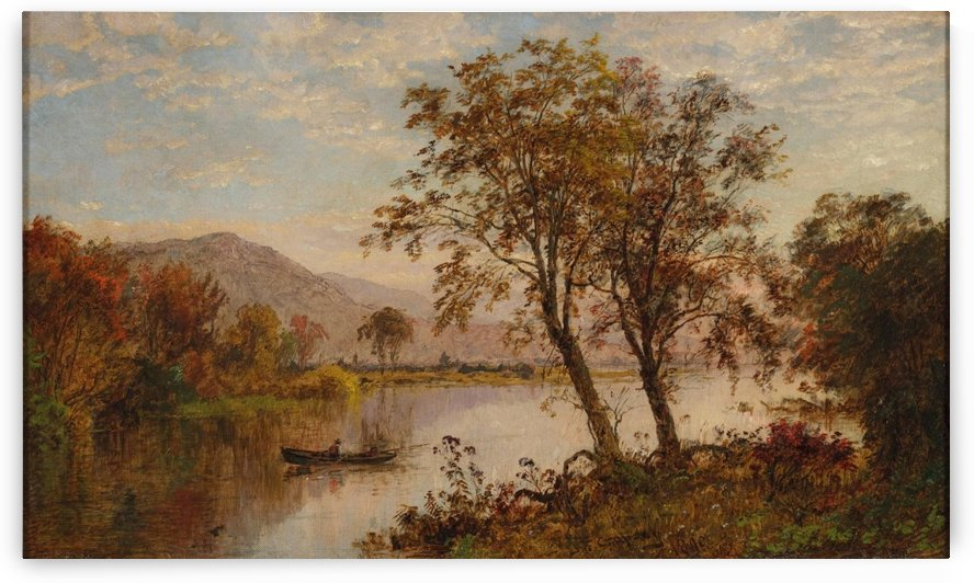 A fisherman by the river by Jasper Francis Cropsey